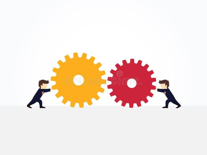 Деятельность мультфильма меньшие люди вытягивая огромные cogwheels к одину другого Иллюстрация вектора для дизайна дела и infogra иллюстрация вектора
