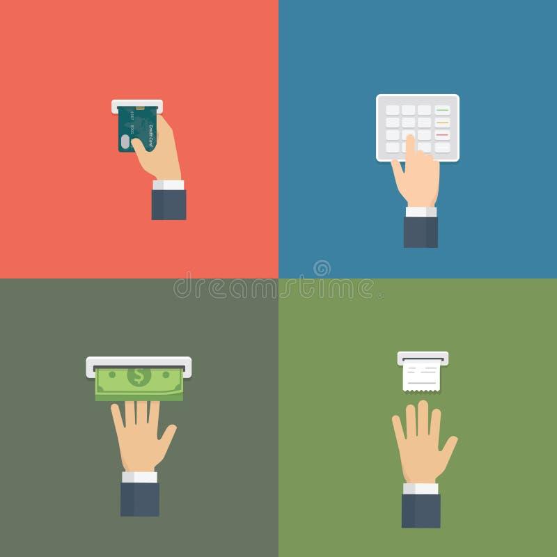 Деятельность при использования ATM Человеческая рука нажимая кнопки, кредитная карточка вставки и получая деньги вручную бесплатная иллюстрация