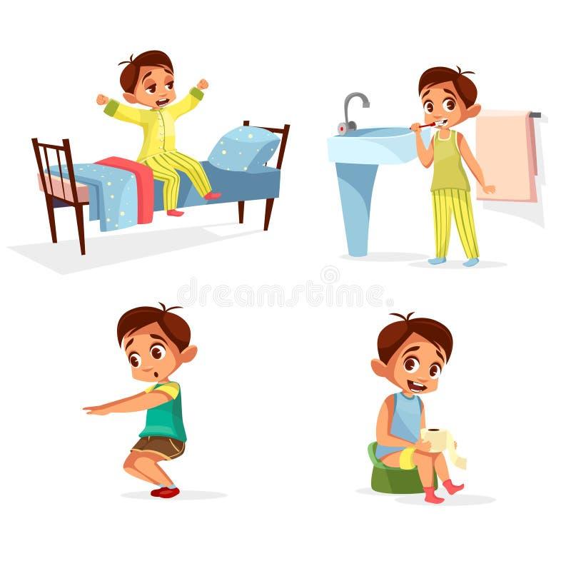 Деятельность при режима утра мальчика шаржа вектора ежедневная бесплатная иллюстрация