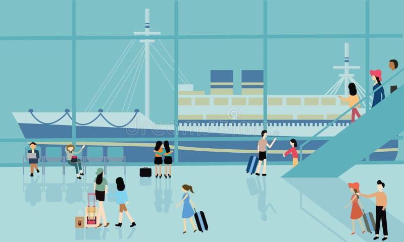 Деятельности при шлюпки круиза морского порта занятые бесплатная иллюстрация