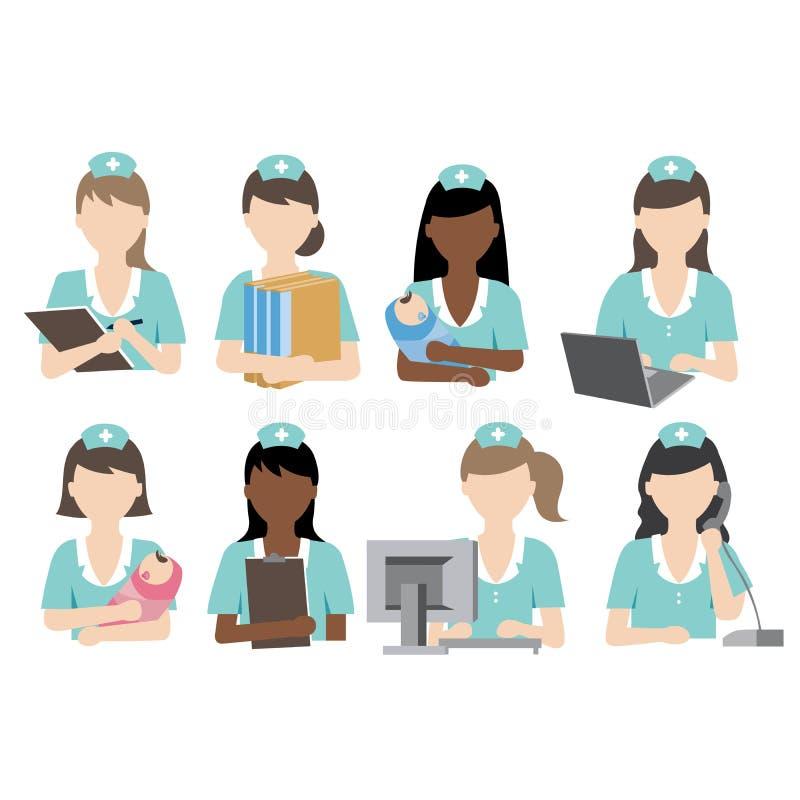 Деятельность при медсестры иллюстрация вектора