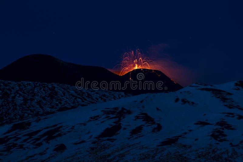 Деятельность при Mount Etna Strombolian стоковые изображения rf