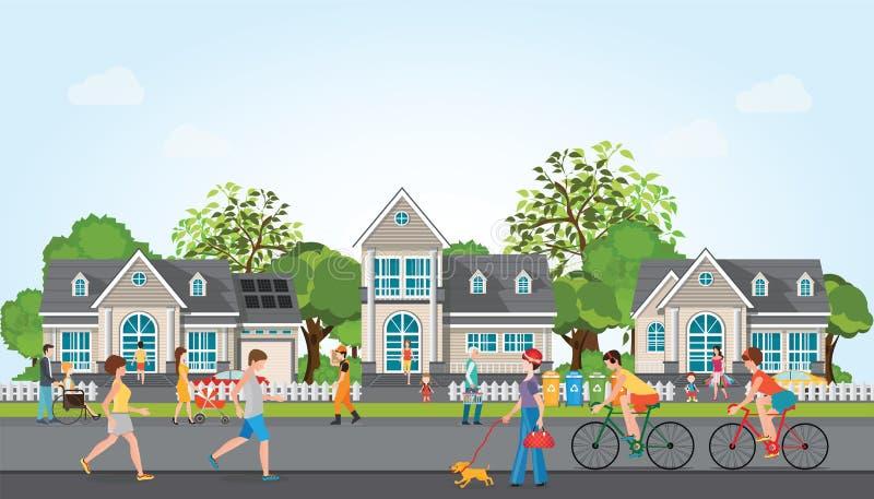Деятельность людей в современной деревне иллюстрация вектора