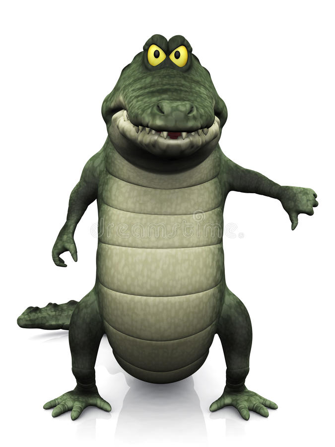 Делать крокодила шаржа большие пальцы руки вниз иллюстрация штока