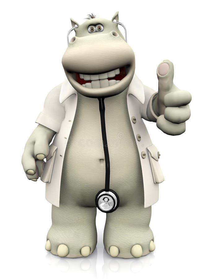 Делать доктора гиппопотама шаржа большие пальцы руки вверх иллюстрация штока