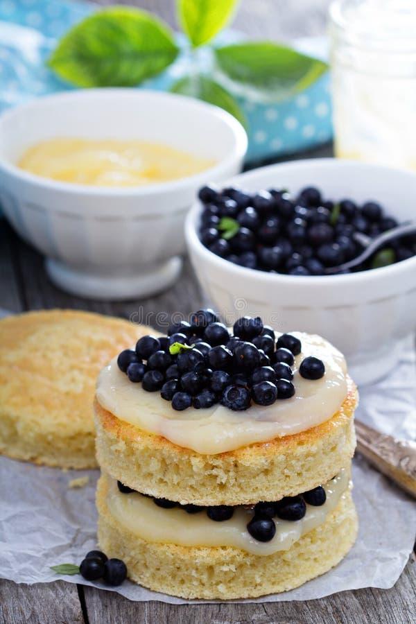Делать торт, слои губки, замораживающ и ягоды стоковые изображения rf