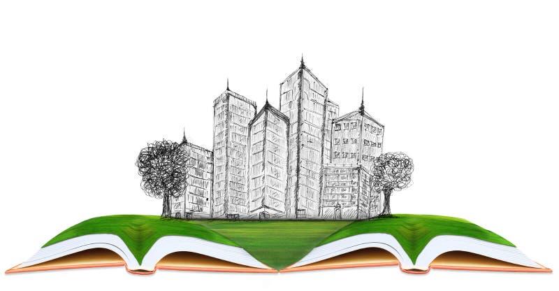 Делать эскиз к современного здания на поле зеленой травы стоковое фото rf