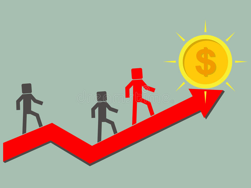 Дела или конкуренты взбираются на поднимающей вверх стрелке к успеху и gol иллюстрация штока