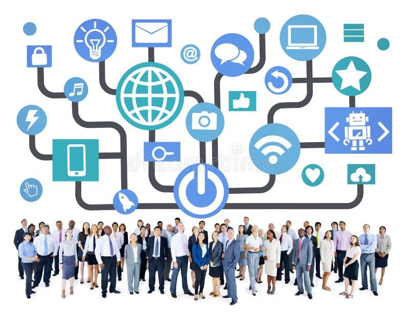 Дела сети глобальных связей концепция социального онлайн стоковые фото