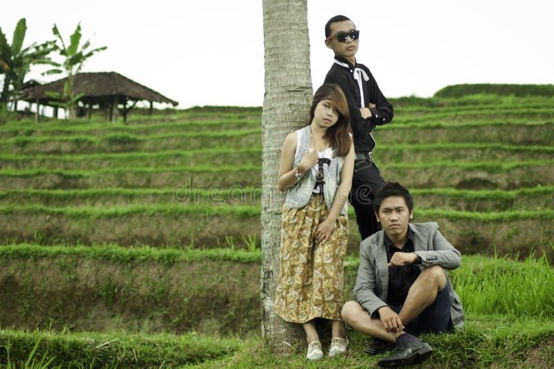 Деловая встреча в ландшафте поля риса. стоковые фото