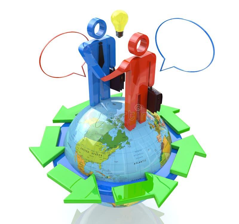 Деловое совещание глобального бизнеса иллюстрация вектора