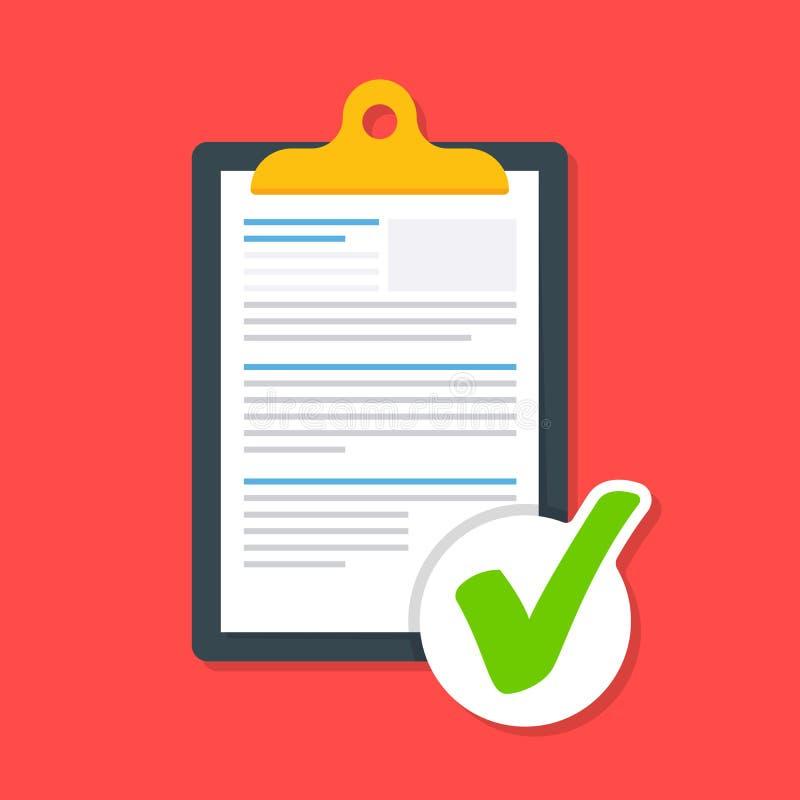 Деловой документ на доске сзажимом для бумаги с тиканием Значок одобренного документа Документ нагружен успешно иллюстрация вектора