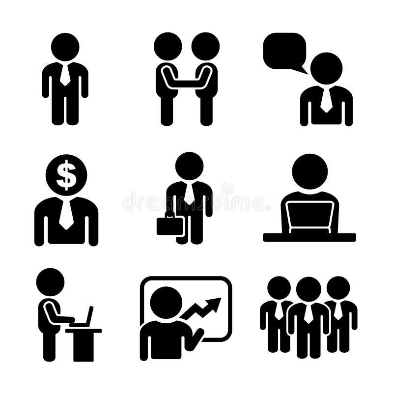 Дело и комплект значка людей офиса иллюстрация штока