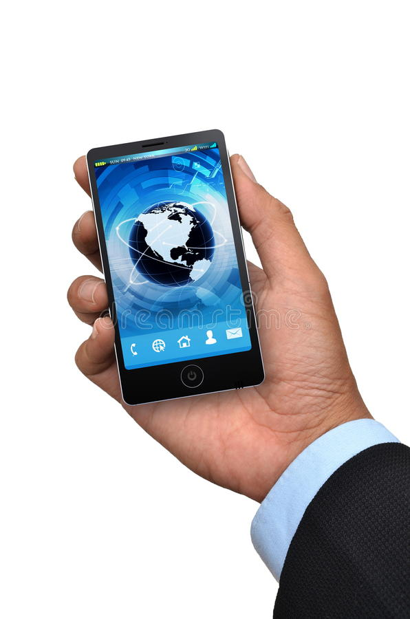 Дело и умный телефон стоковое изображение rf