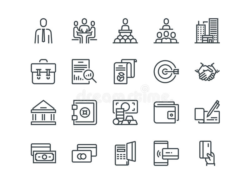 Дело и финансы Комплект значков вектора плана Включает как сыгранность, банк, оплата и другое Editable ход бесплатная иллюстрация