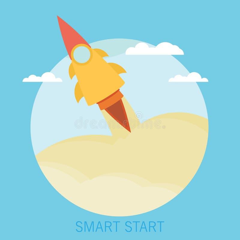 Дело начинает вверх концепцию старта Плоская ультрамодная ракета начинает вверх иллюстрация штока