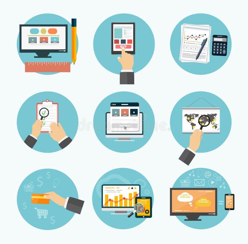 Дело, офис и значки деталей маркетинга. иллюстрация вектора