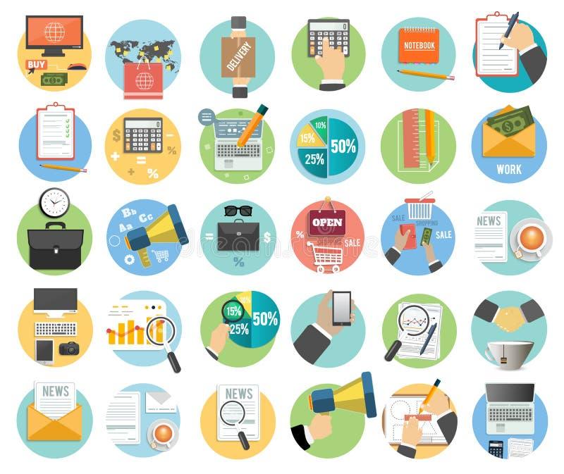 Дело, офис и значки деталей маркетинга иллюстрация штока