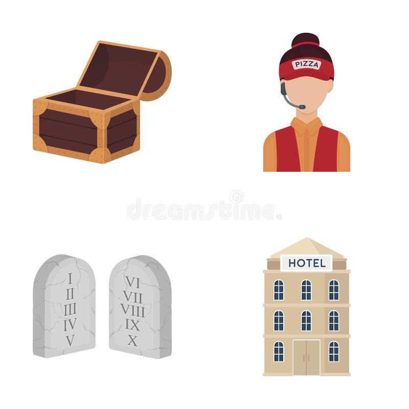 Дело, ресторан, перемещение и другой значок сети в стиле шаржа , строящ, гостиницы, архитектура, значки в комплекте иллюстрация штока