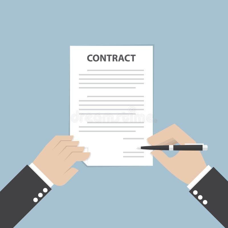 Дело ручки и подписания удерживания руки бизнесмена заключает контракт иллюстрация вектора