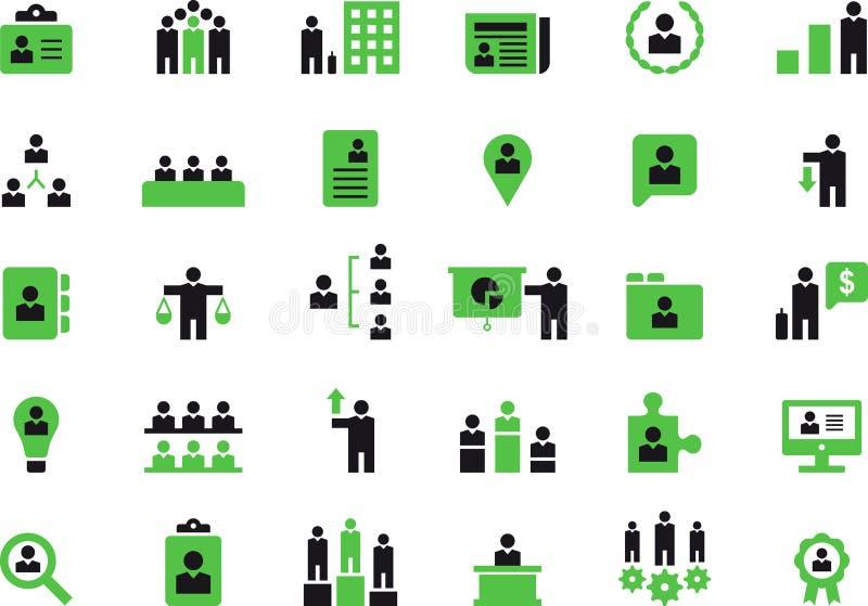Дело, человеческие ресурсы и комплект значка управления иллюстрация вектора
