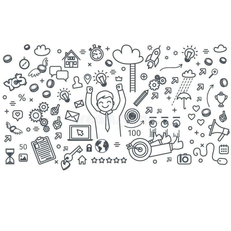 Дело doodles значки иллюстрация вектора