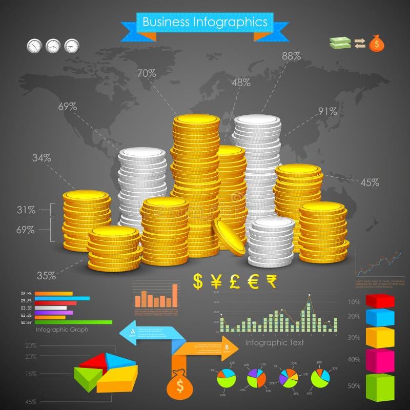 Дело Infograph столбчатой диаграммы монетки иллюстрация штока