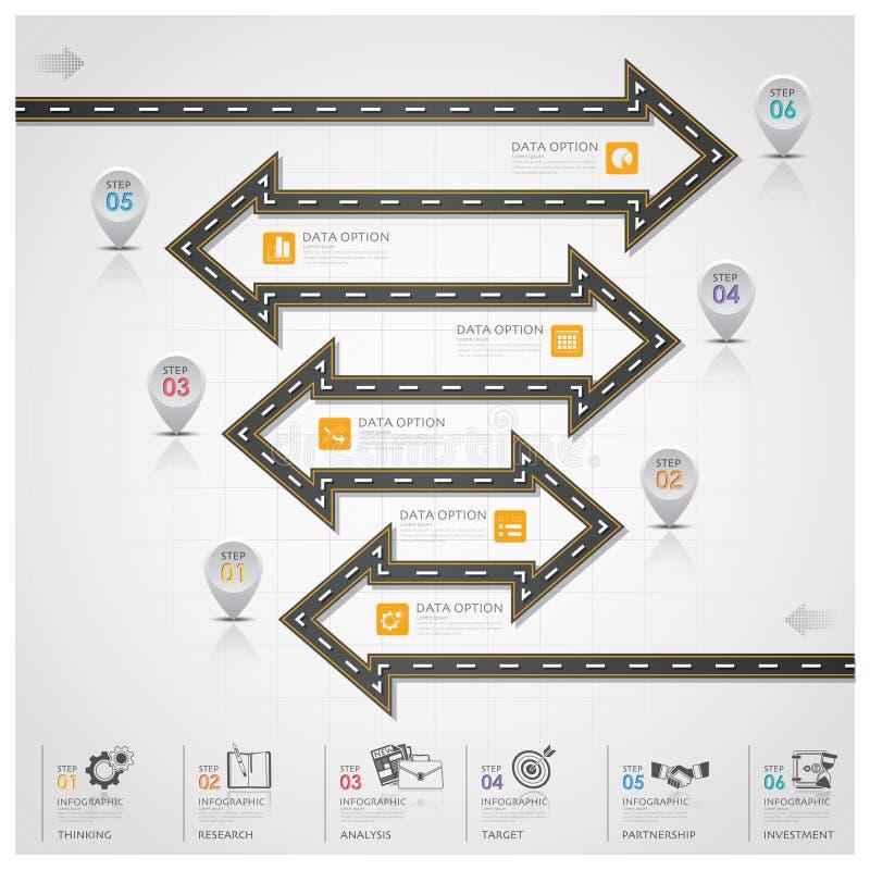 Дело Infographic шага стрелки знака дороги и уличного движения иллюстрация вектора