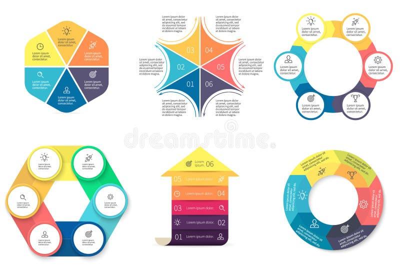 Дело Infographics Диаграммы с 6 шагами стоковая фотография rf