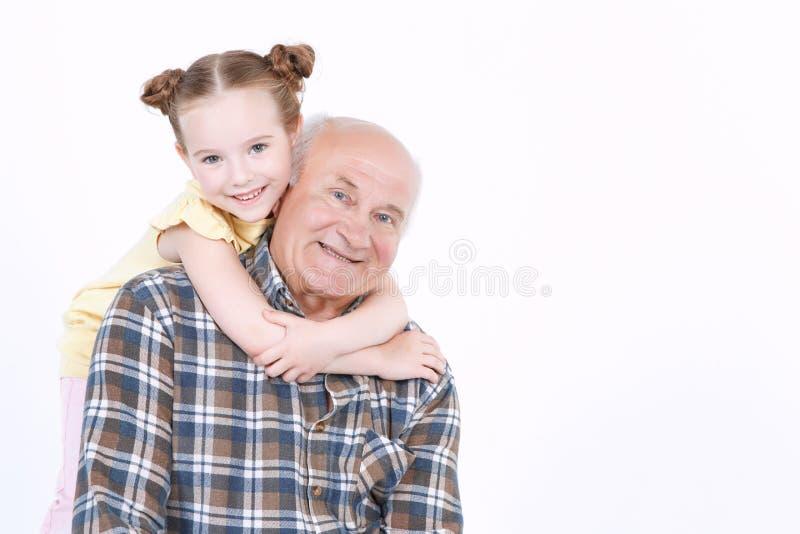Дед с его грандиозной дочерью стоковое фото