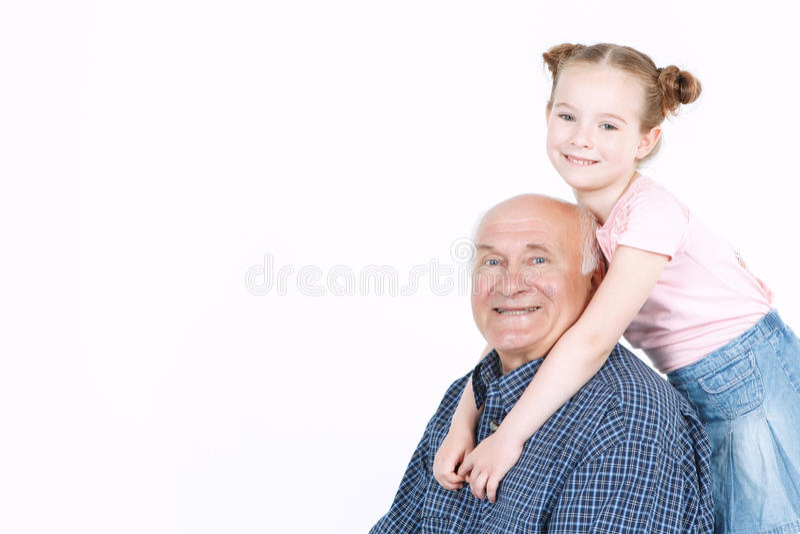 Дед тратя время с внучкой стоковое изображение