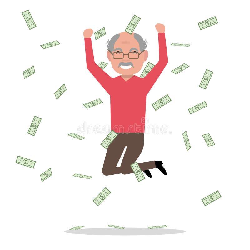 Дед шаржа вектора скачет падая деньги бесплатная иллюстрация