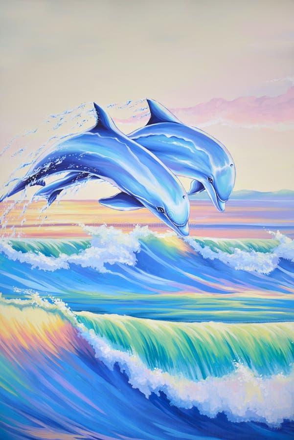 Дельфины в прибое бесплатная иллюстрация