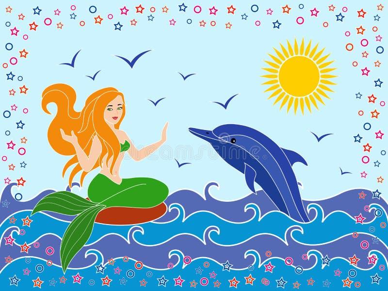Дельфин и русалка в волнах моря иллюстрация вектора