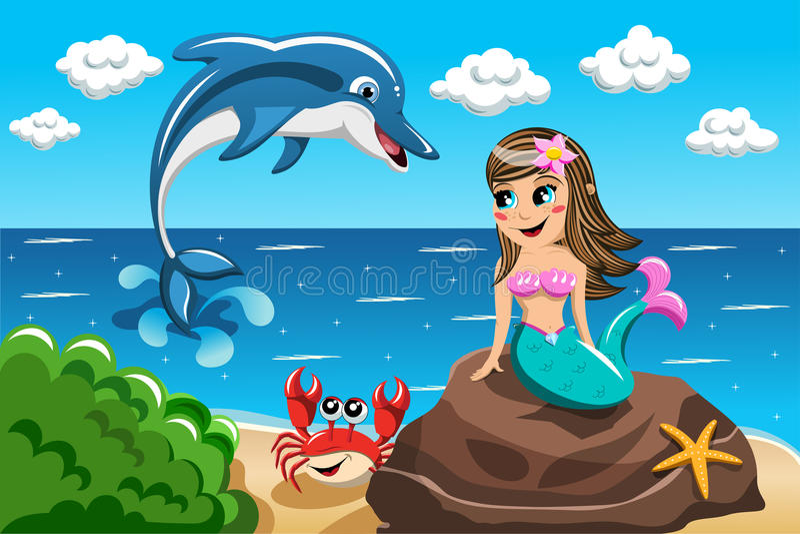 Дельфин маленькой русалки наблюдая скача бесплатная иллюстрация