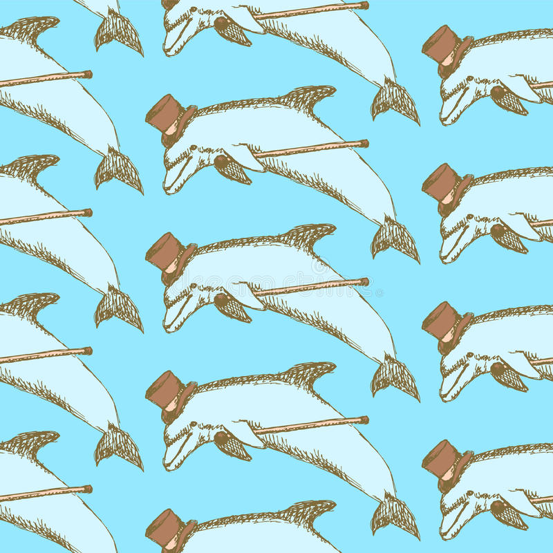 Дельфин эскиза причудливый в винтажном стиле иллюстрация вектора