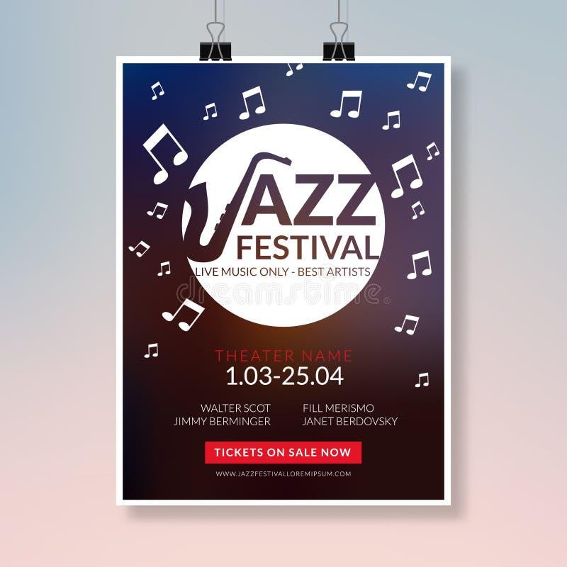 Джазовый фестиваль рогульки вектора музыкальный Шаблон рогульки брошюры фестиваля предпосылки плаката концерта музыки иллюстрация штока