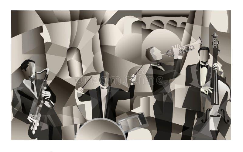 Джаз-бэнд в Париже иллюстрация штока