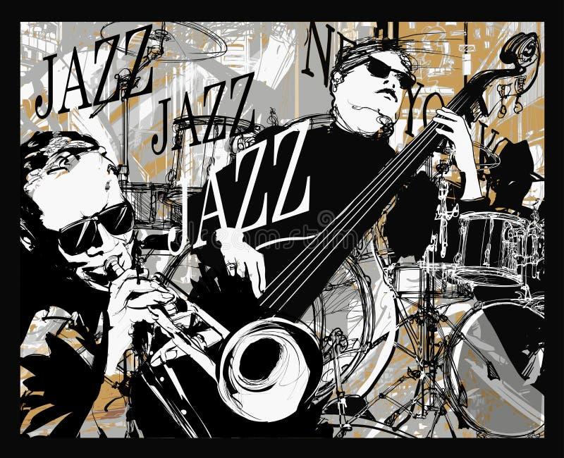 Джаз-бэнд на предпосылке grunge иллюстрация вектора