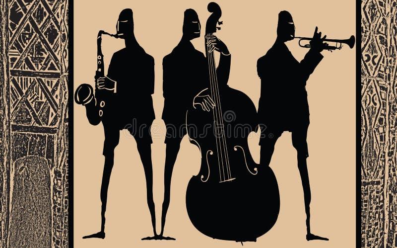 Джаз-бэнд в этническом дизайне стиля бесплатная иллюстрация