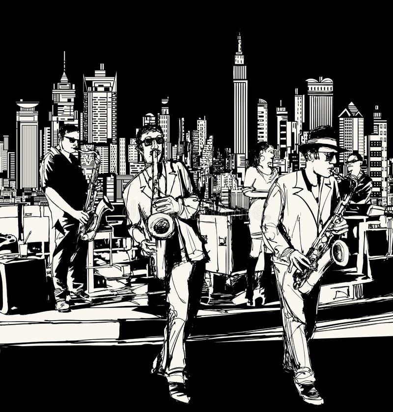 Джаз-бэнд играя в Нью-Йорке иллюстрация вектора
