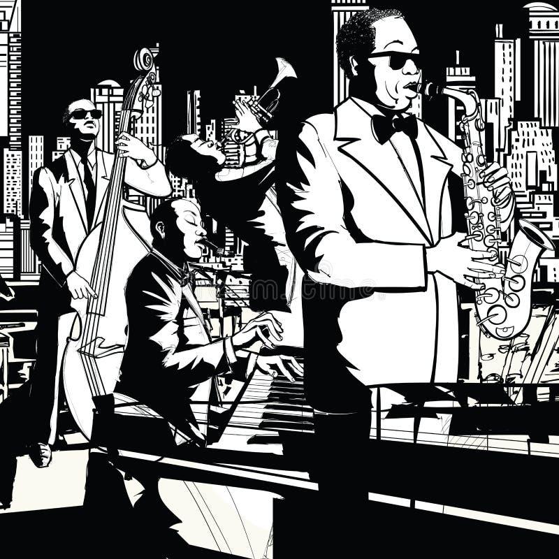 Джаз-бэнд играя в Нью-Йорке бесплатная иллюстрация