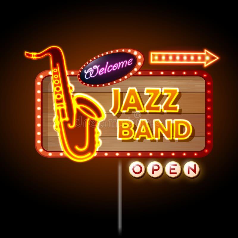 Джаз-бэнд неоновой вывески бесплатная иллюстрация