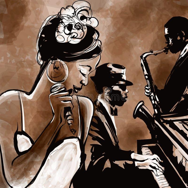 Джаз-бэнд с певицей, саксофоном и роялем - иллюстрацией иллюстрация вектора