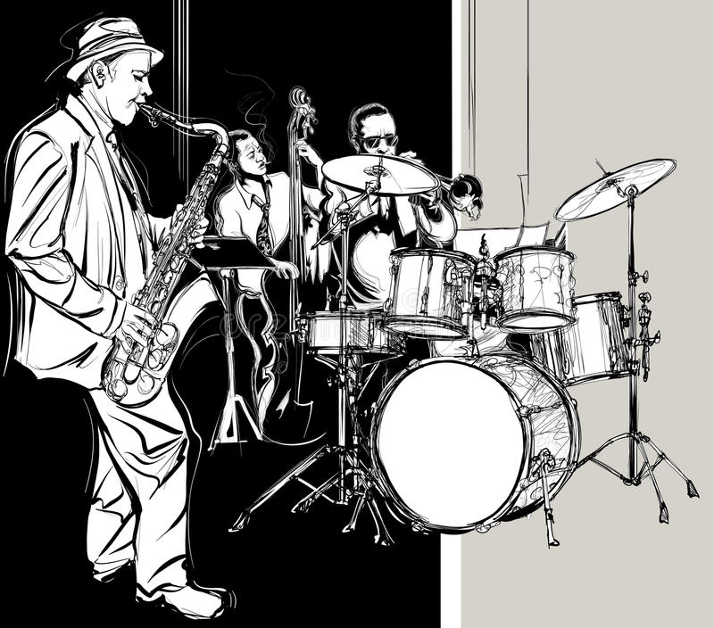 Джаз-бэнд иллюстрация вектора