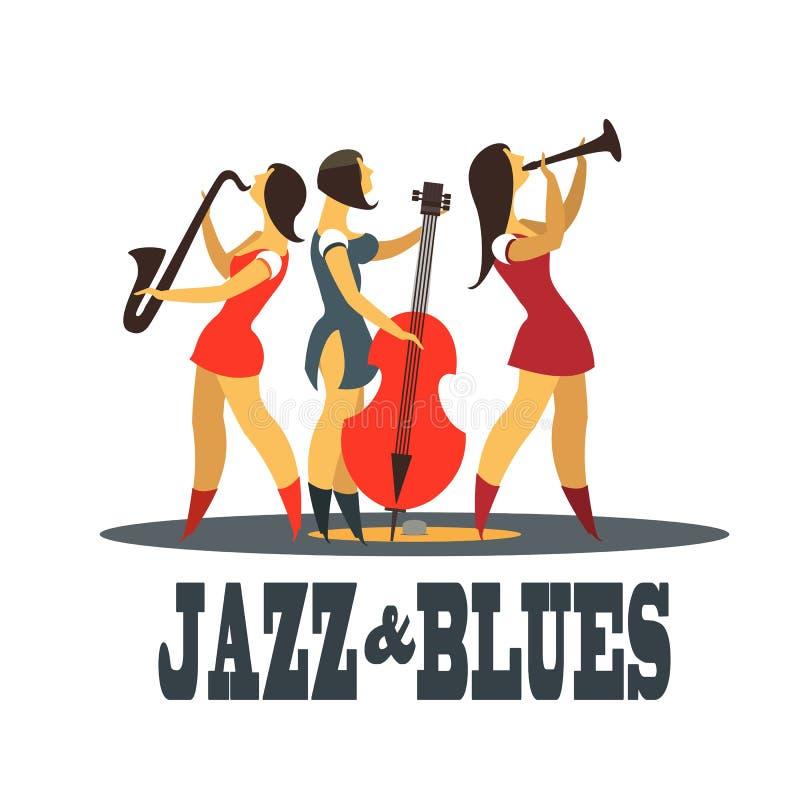 Джаз и син иллюстрация вектора