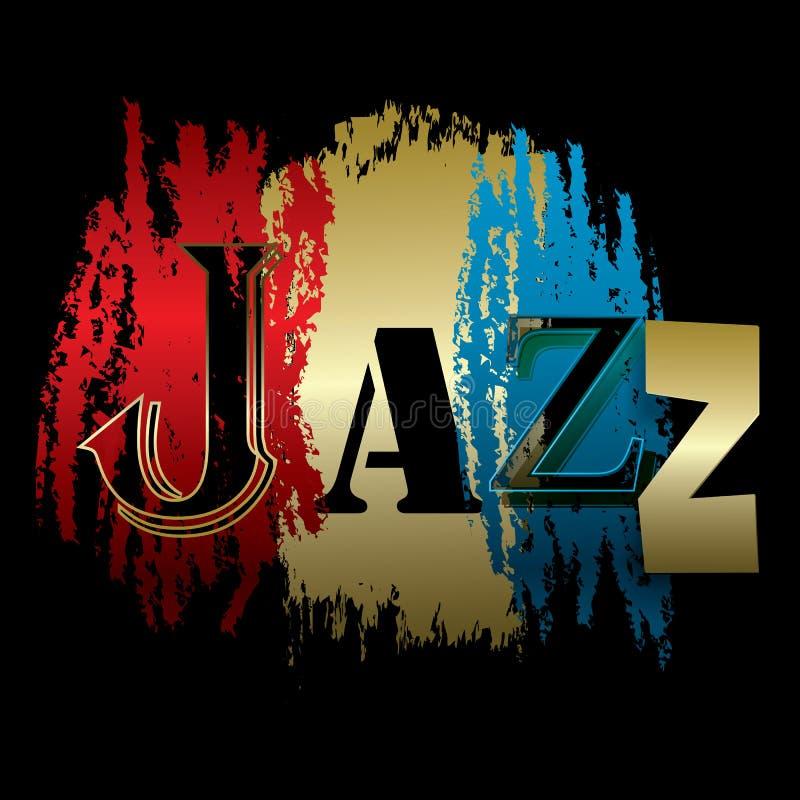 Джаз слова изолированный на черноте иллюстрация штока
