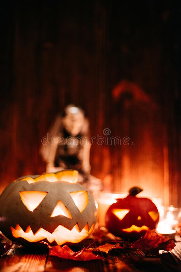 Джек-o-фонарики хеллоуина пугающие стоковые фото