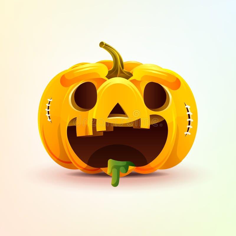 Джек-o-фонарик, тыква осени выражения лица с эмоцией smiley ликования, emoji, стикером на счастливый хеллоуин иллюстрация вектора
