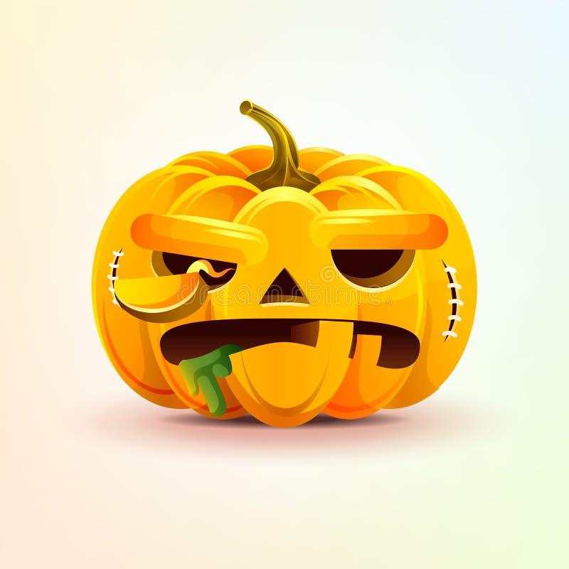 Джек-o-фонарик, ужасная тыква осени выражения лица с злой эмоцией, emoji, стикером на счастливый хеллоуин иллюстрация вектора